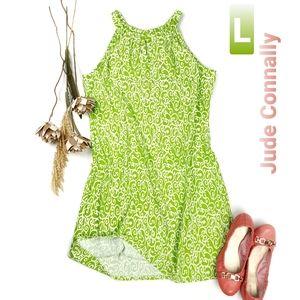 Jude Connally Lime White Pattern Halter Sundress L